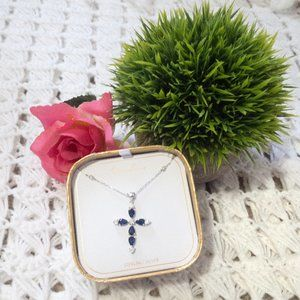 Mia Sarine Silver  •  Blue Cross Necklace